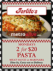 MetroDeal: Mondays 2 for $20 Pasta